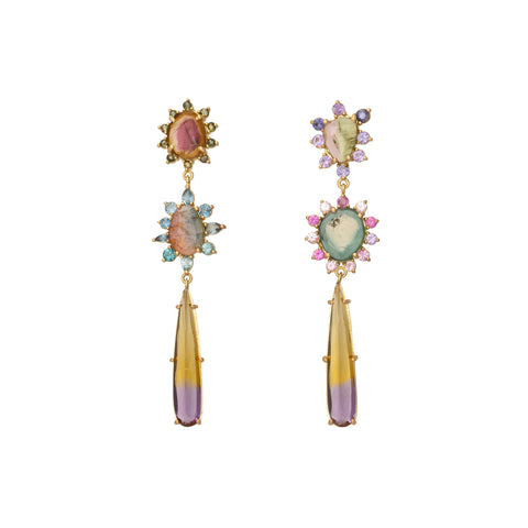 Tourmaline and Sapphire Earrings - Marisa Klass - Earrings | Broken English Jewelry