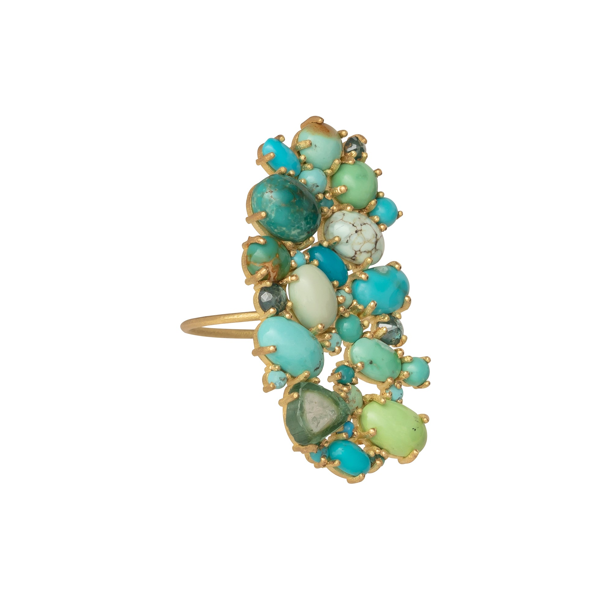 Turquoise Blue Diamond and Tourmaline Ring - Marisa Klass - Rings | Broken English Jewelry