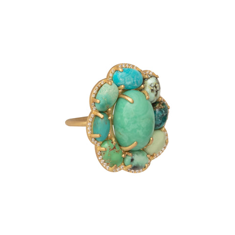 Turquoise Variscite and Diamond Ring - Marisa Klass - Rings | Broken English Jewelry