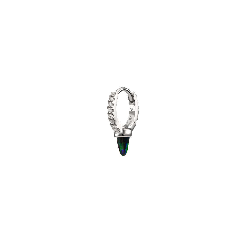 6.5mm Black Opal & Diamond Clicker by Maria Tash for Broken English Jewelry