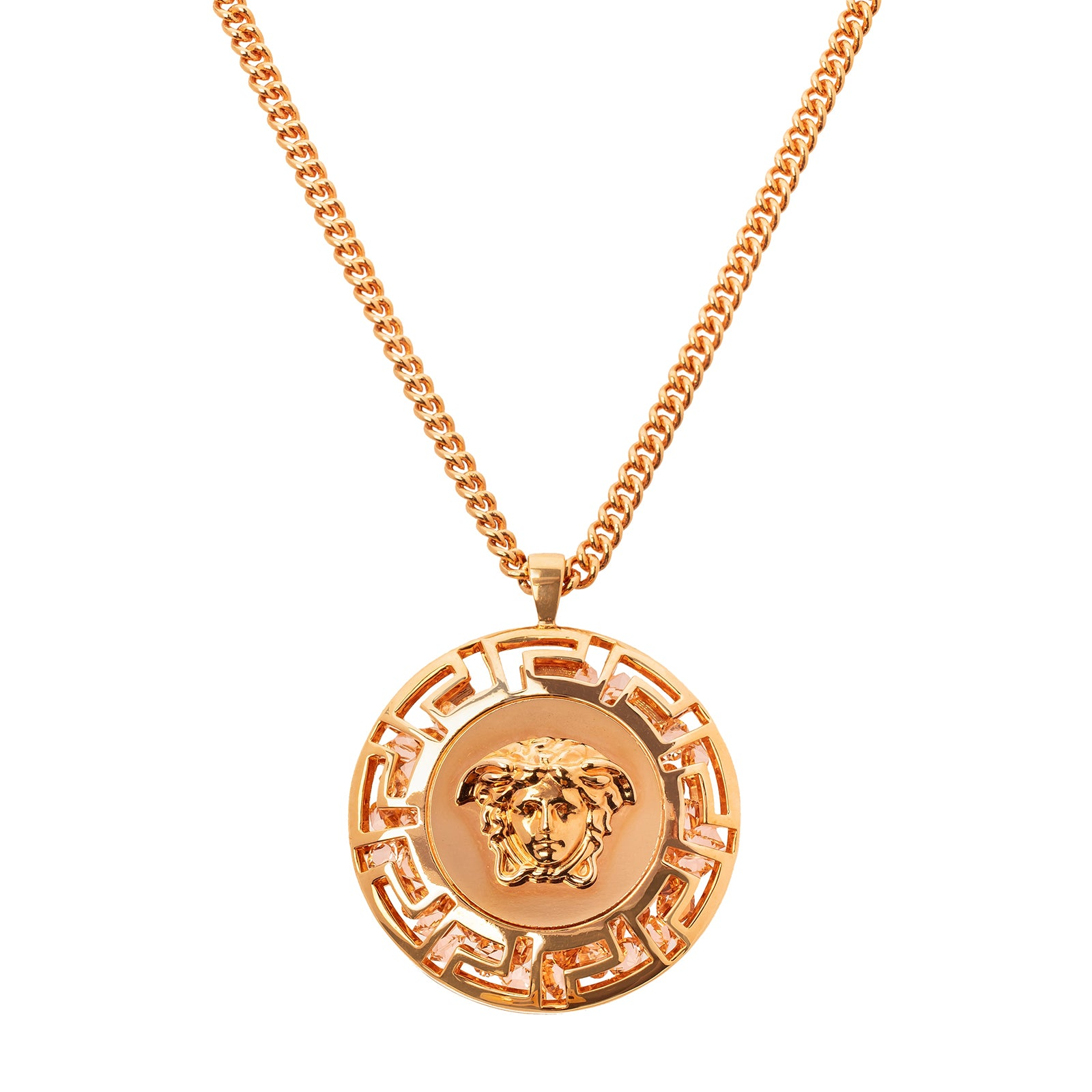 Antique & Vintage Jewelry Versace Gem Filled Medusa Pendant Necklace - Necklaces - Broken English Jewelry