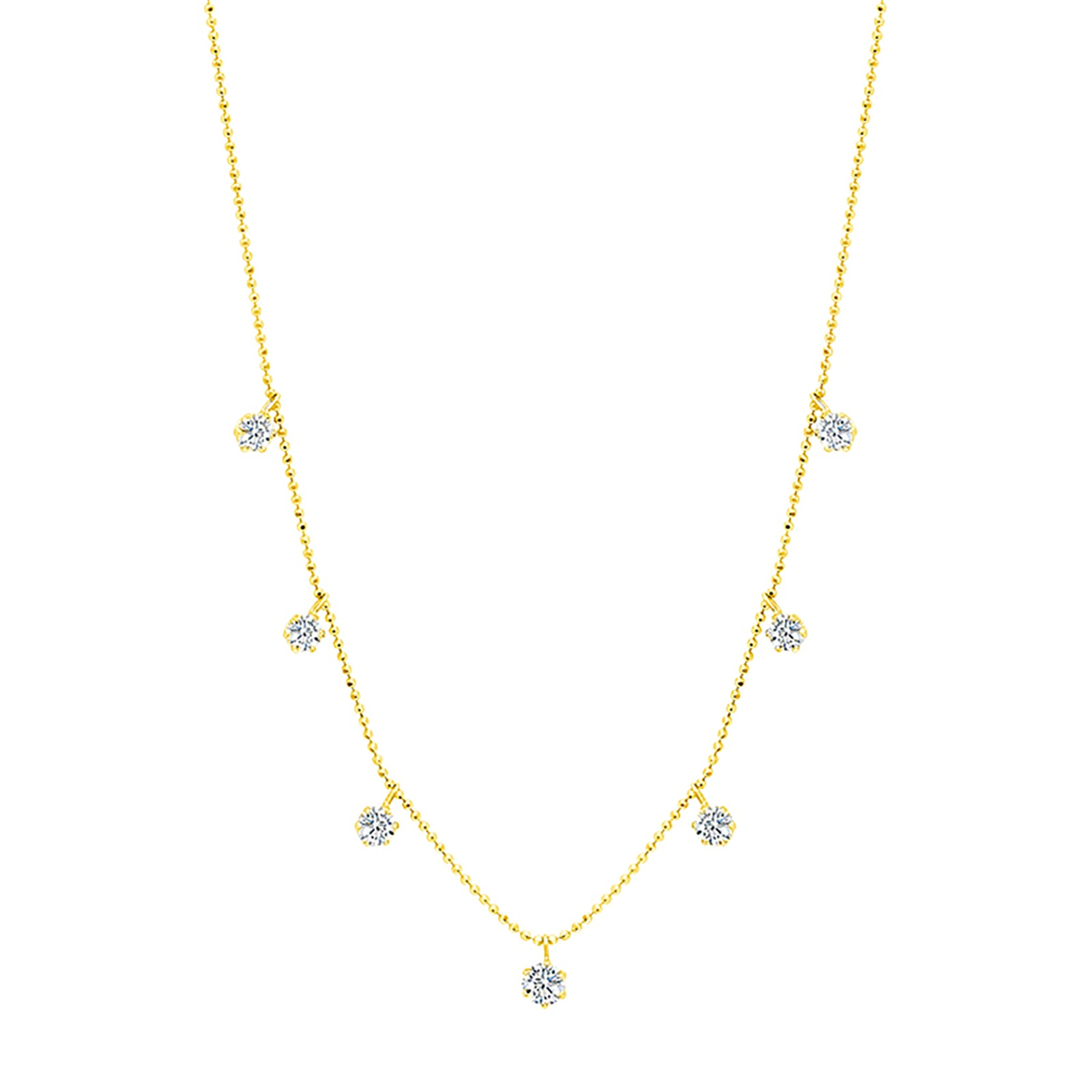 Graziela Medium Floating Diamond Necklace - Yellow Gold - Necklaces - Broken English Jewelry
