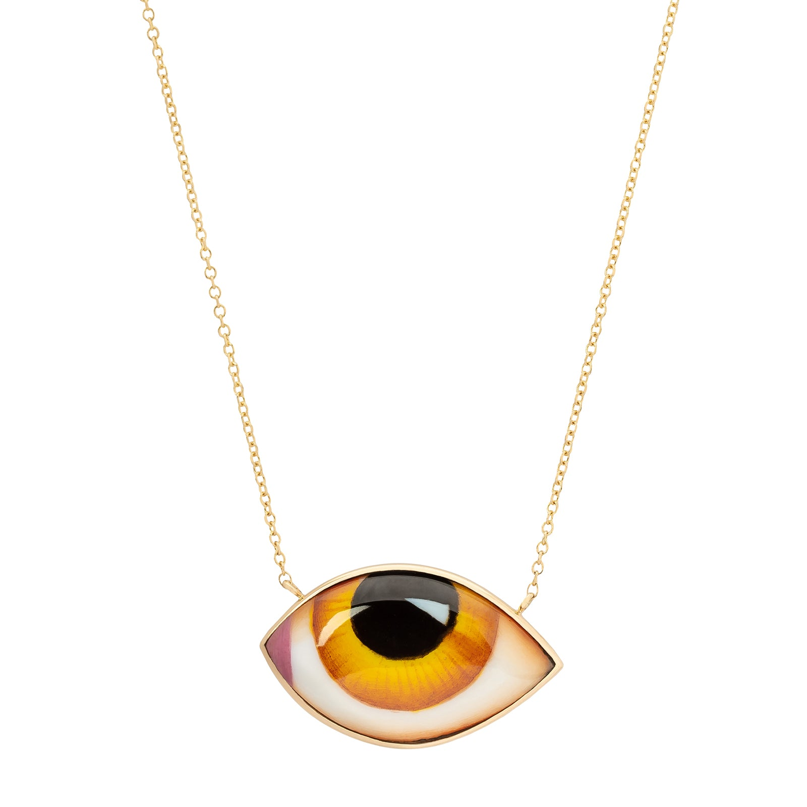 Lito Fine Jewelry Big Yellow Eye Necklace - Necklaces - Broken English Jewelry