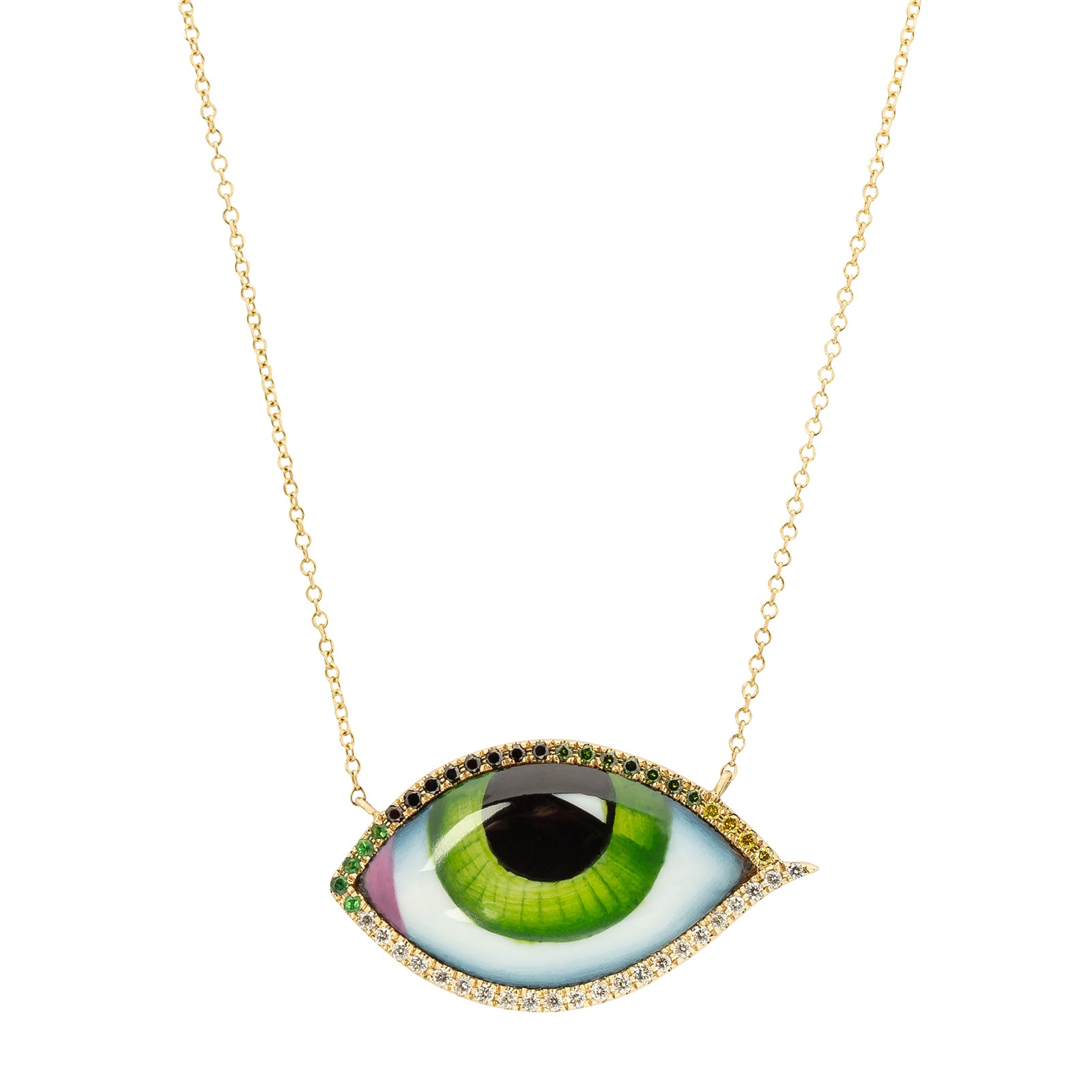 Lito Fine Jewelry Multi-Stone Green Eye Necklace - Necklaces - Broken English Jewelry