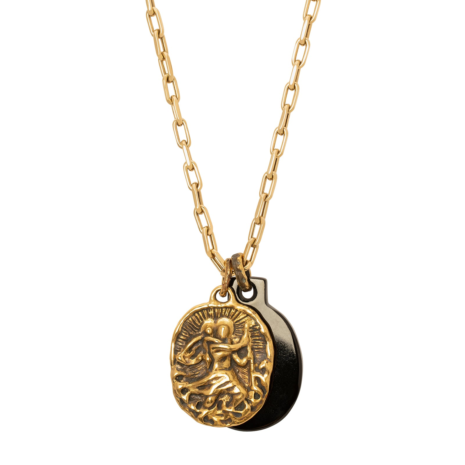 Lisa Eisner Jewelry Saint Christopher Black Jade Medal Necklace - Necklaces - Broken English Jewelry