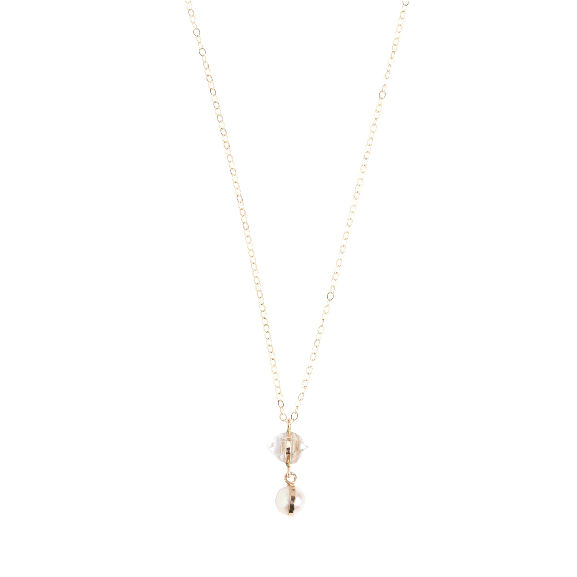 Melissa Joy Manning Drop Necklace - Herkimer & Pearl - Necklaces - Broken English Jewelry