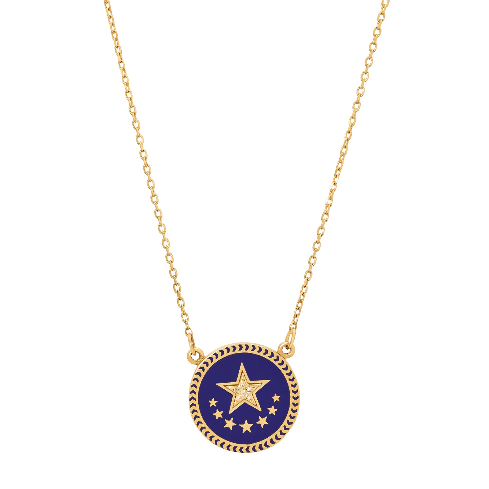 Foundrae Strength Enamel Necklace - Blue Star - Necklaces - Broken English Jewelry