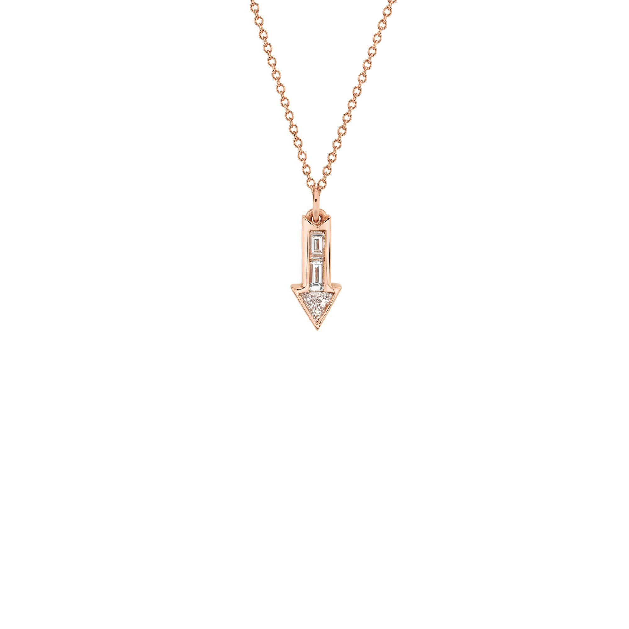 Lizzie Mandler Arrow Charm Necklace - Diamond & Gold - Necklaces - Broken English Jewelry