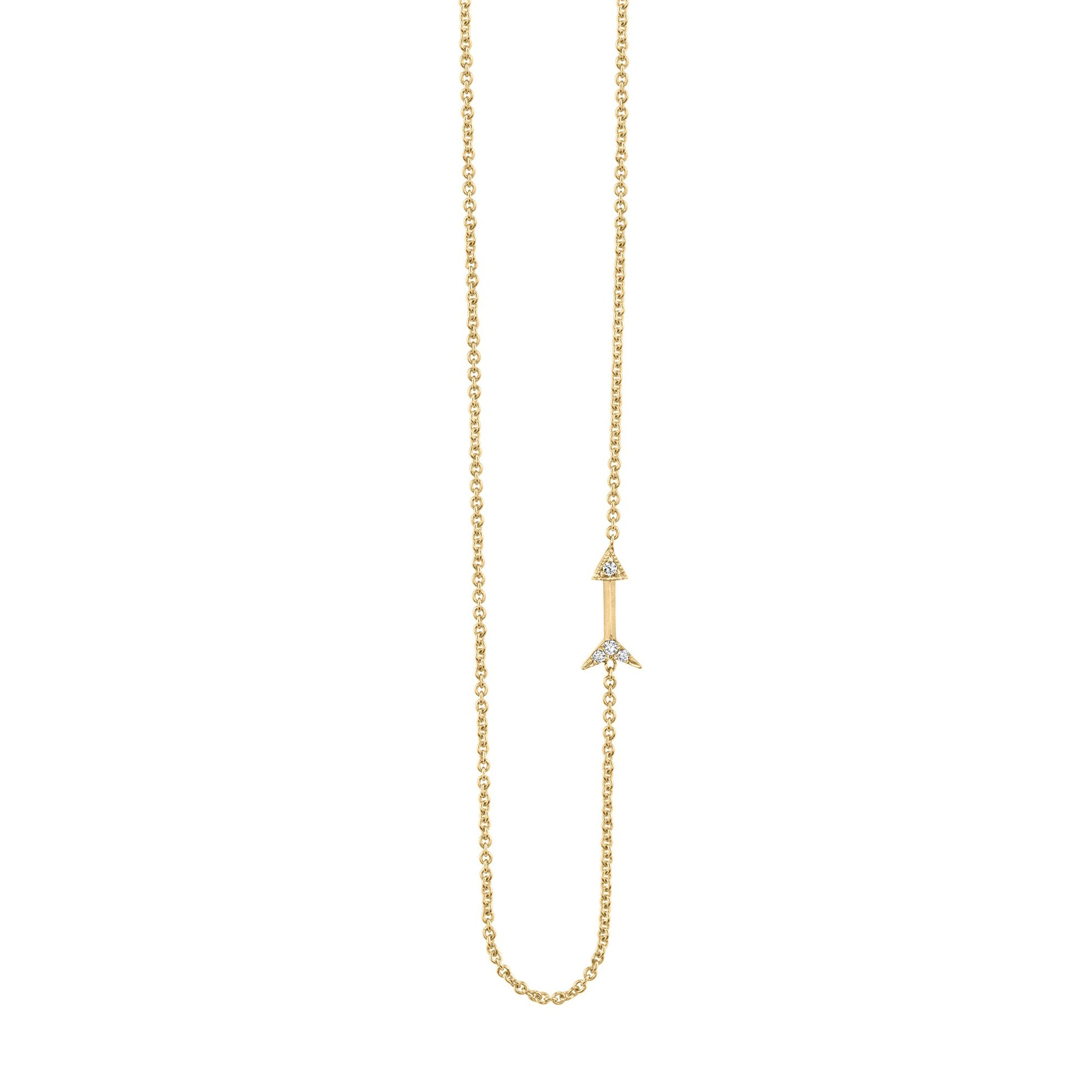 Lizzie Mandler Petite Arrow Necklace - Diamond & Gold - Necklaces - Broken English Jewelry
