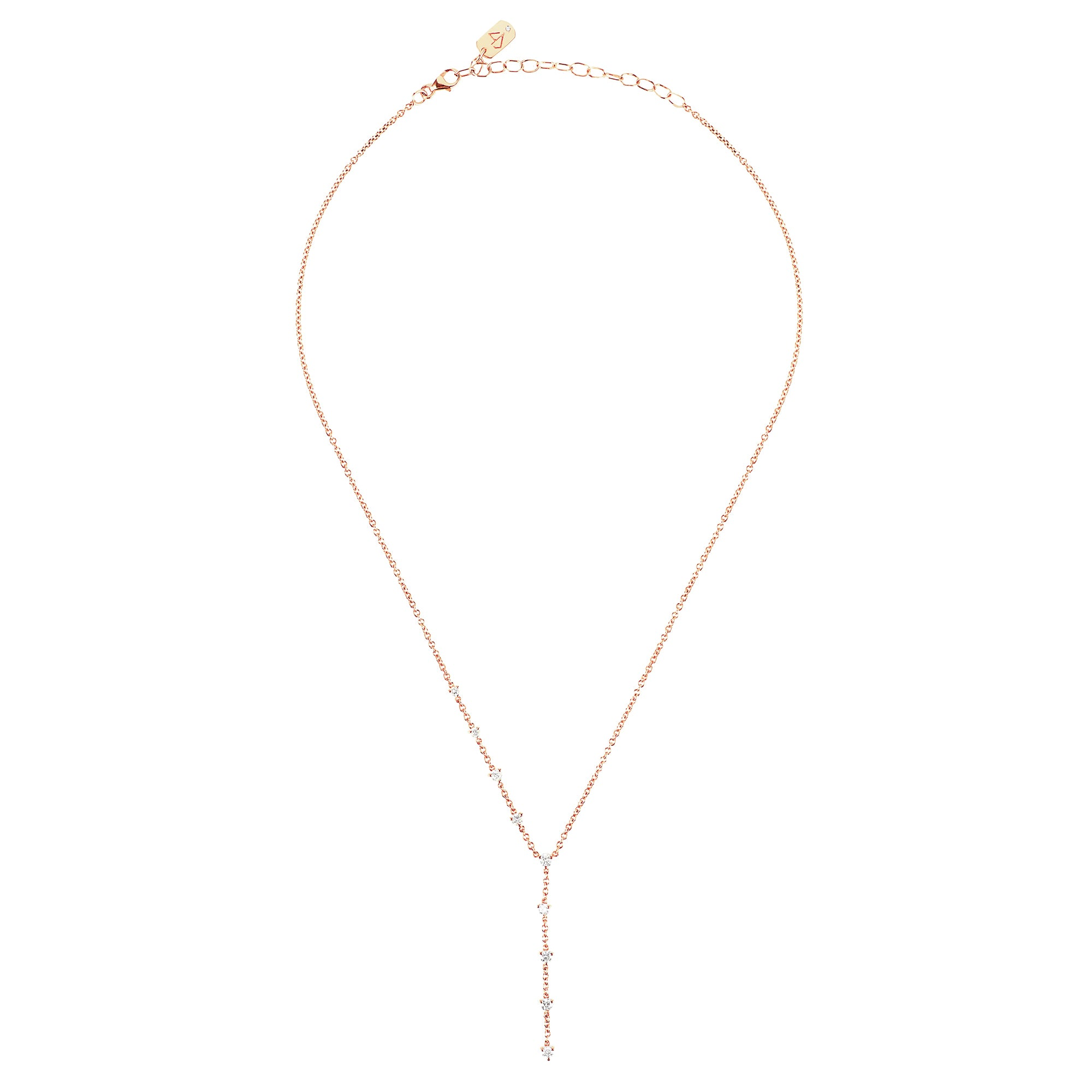 Carbon & Hyde Sparkler Lariat - Rose Gold - Necklaces - Broken English Jewelry