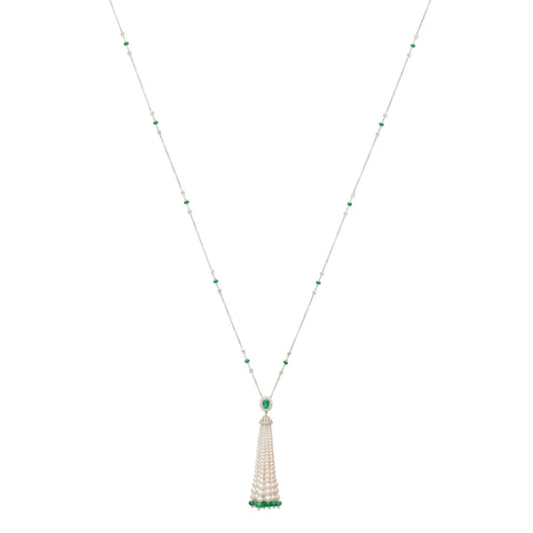 Emerald and Pearl Tassel Necklace - Legend Amrapali - Necklaces | Broken English Jewelry