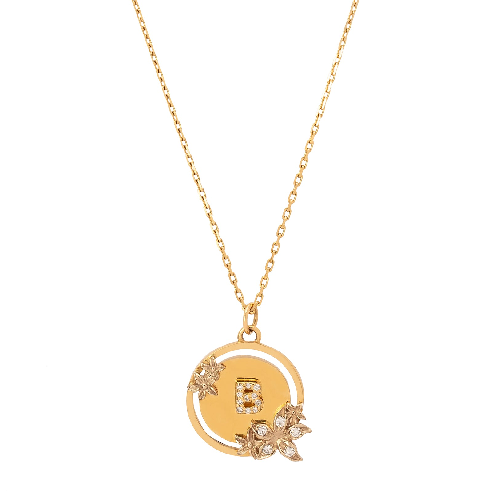 Foundrae Letter B Medallion Necklace - Necklaces - Broken English Jewelry