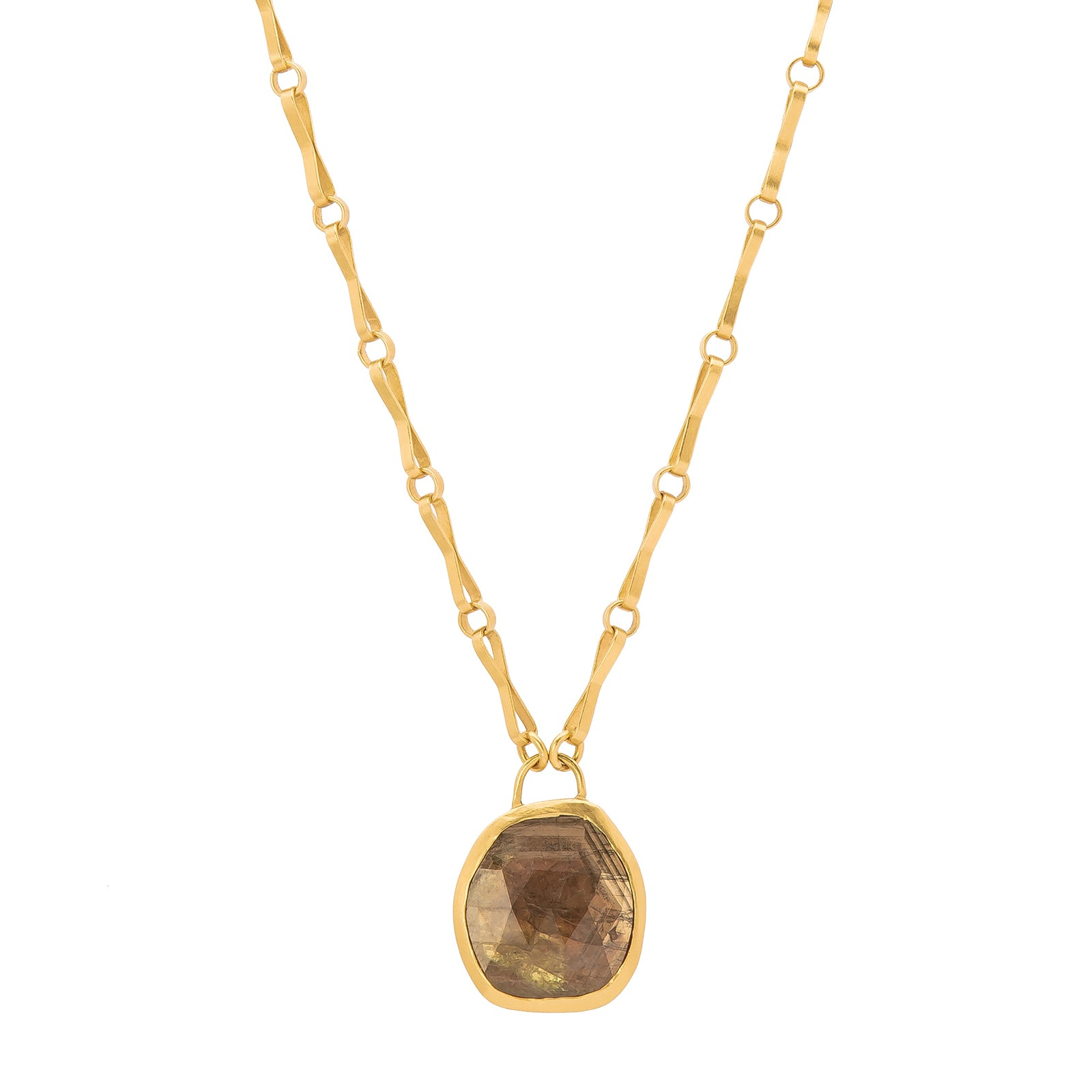 Eli Halili Pendant Necklace - Brown Sapphire - Necklaces - Broken English Jewelry