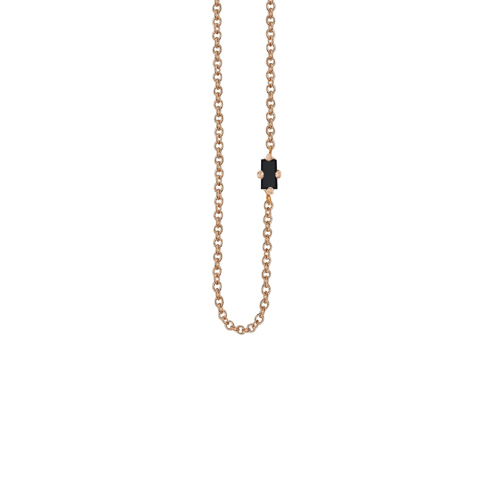 Black Baguette Floating Necklace