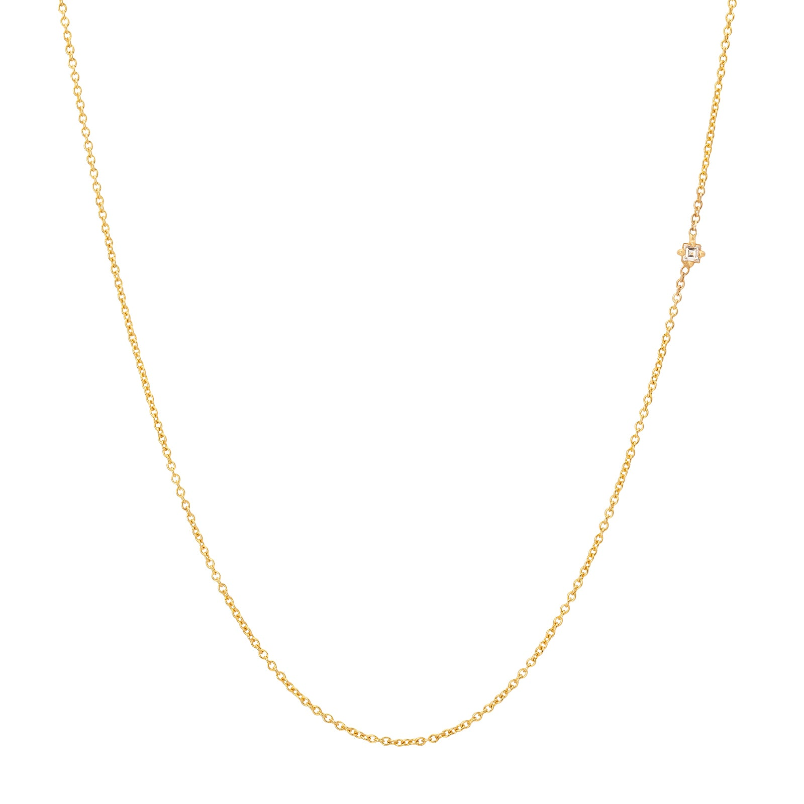Lizzie Mandler Carre Diamond Floating Necklace - Necklaces - Broken English Jewelry