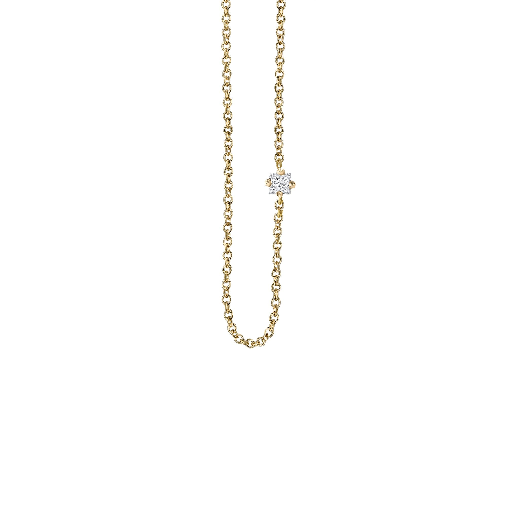 Lizzie Mandler Princess Floating Necklace - Diamond & Gold - Necklaces - Broken English Jewelry