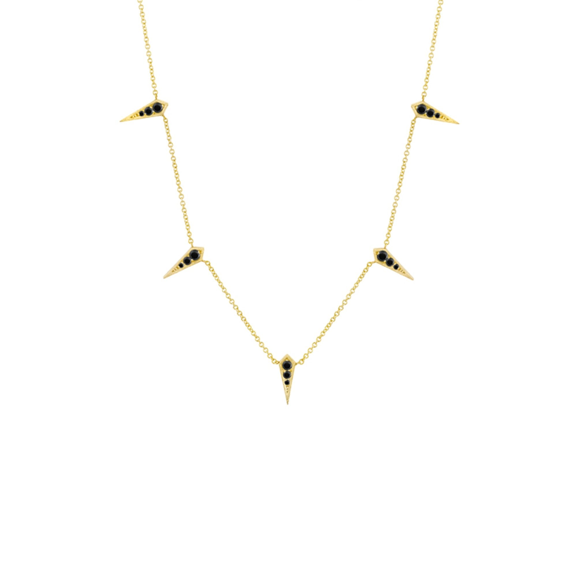 Lizzie Mandler Five Kite Necklace - Black Diamond & Gold - Necklaces - Broken English Jewelry