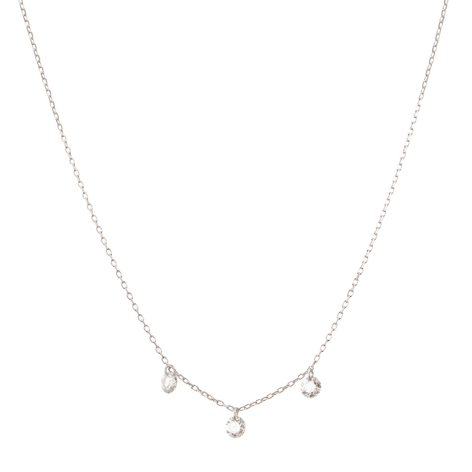 Persée Paris Danaé Trio Hanging Diamond Necklace - White Gold - Necklaces - Broken English Jewelry