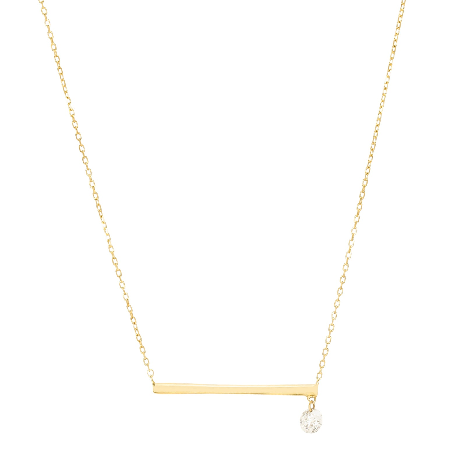 Persée Paris Bar Drop Necklace - Yellow Gold - Necklaces - Broken English Jewelry