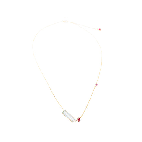 YI Collection Aquamarine & Ruby Bar Necklace - Necklaces - Broken English Jewelry