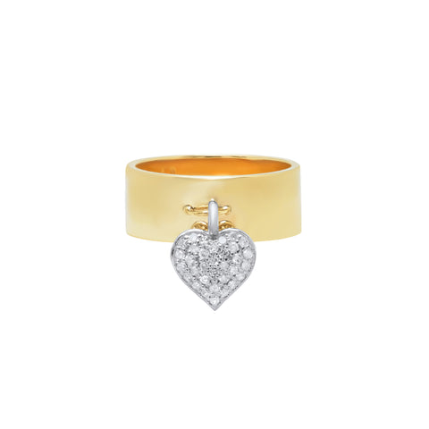 Nancy Newberg Double Sided Heart Charm Cigar Band Ring - Rings - Broken English Jewelry