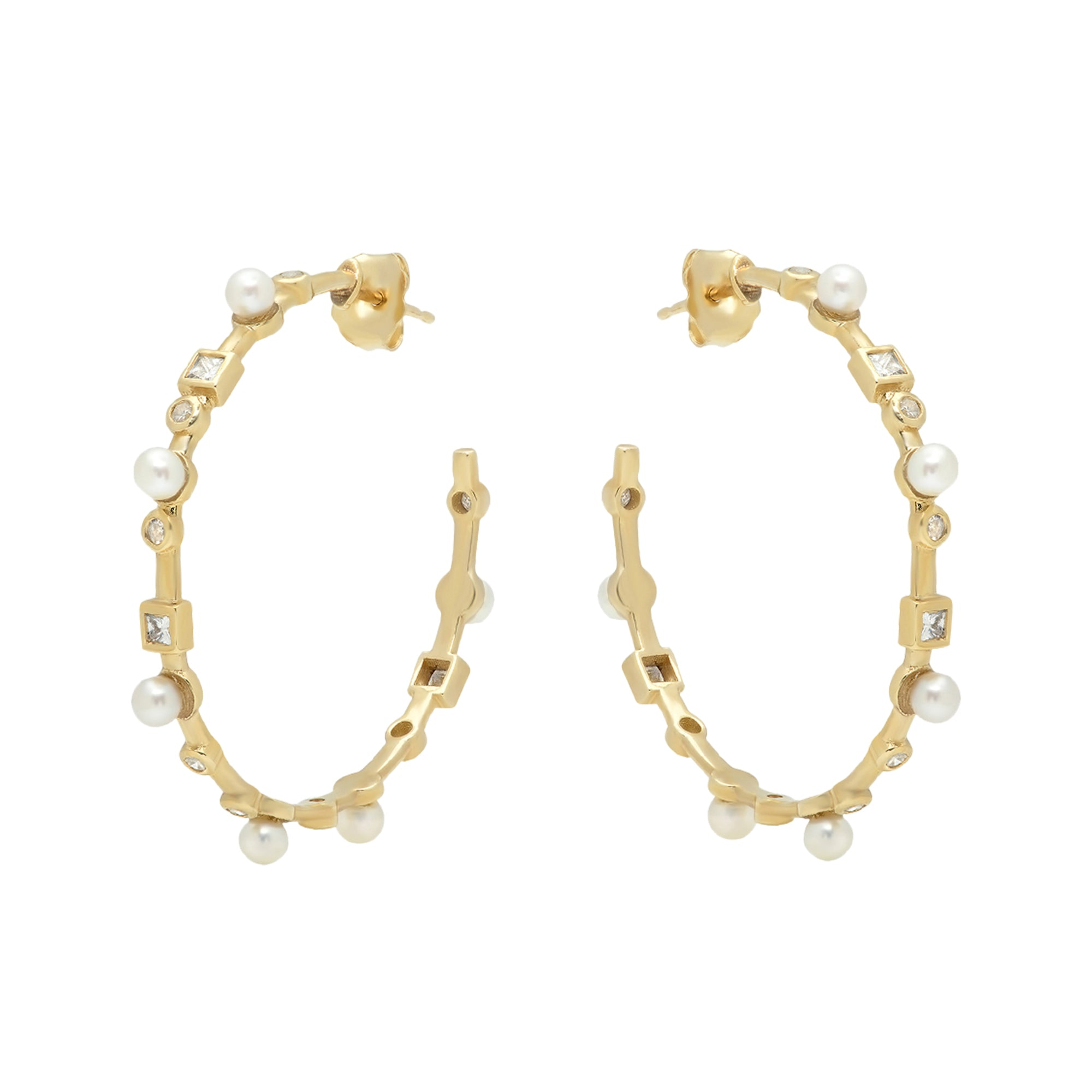 Hoop Earrings with Pearls and Diamonds