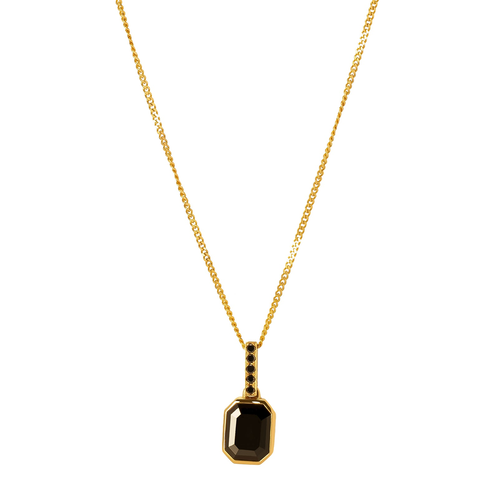 YI Collection Black Diamond Pendant Necklace - Necklaces - Broken English Jewelry