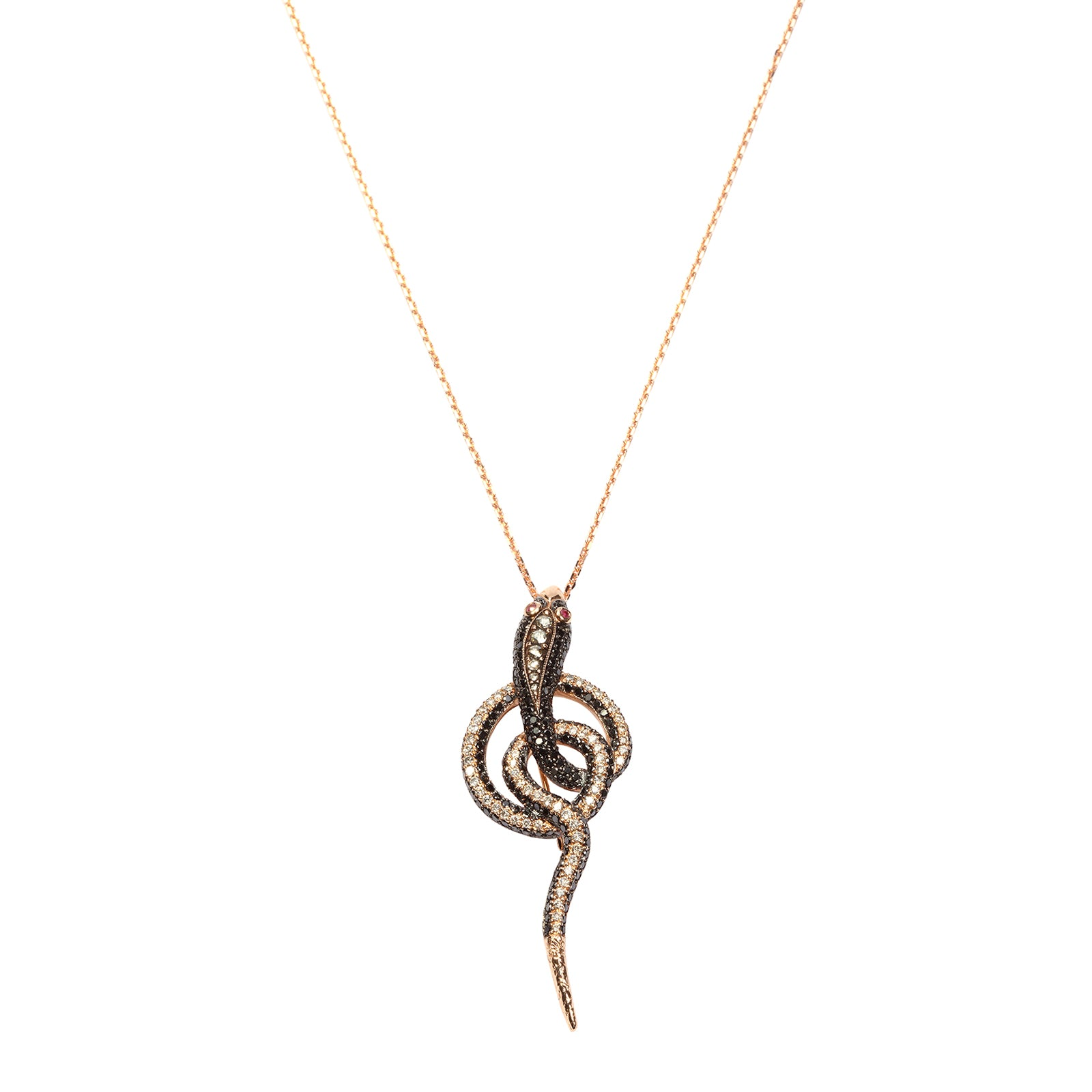Aida Bergsen Danse Serpentine Necklace - White Diamond - Necklaces - Broken English Jewelry