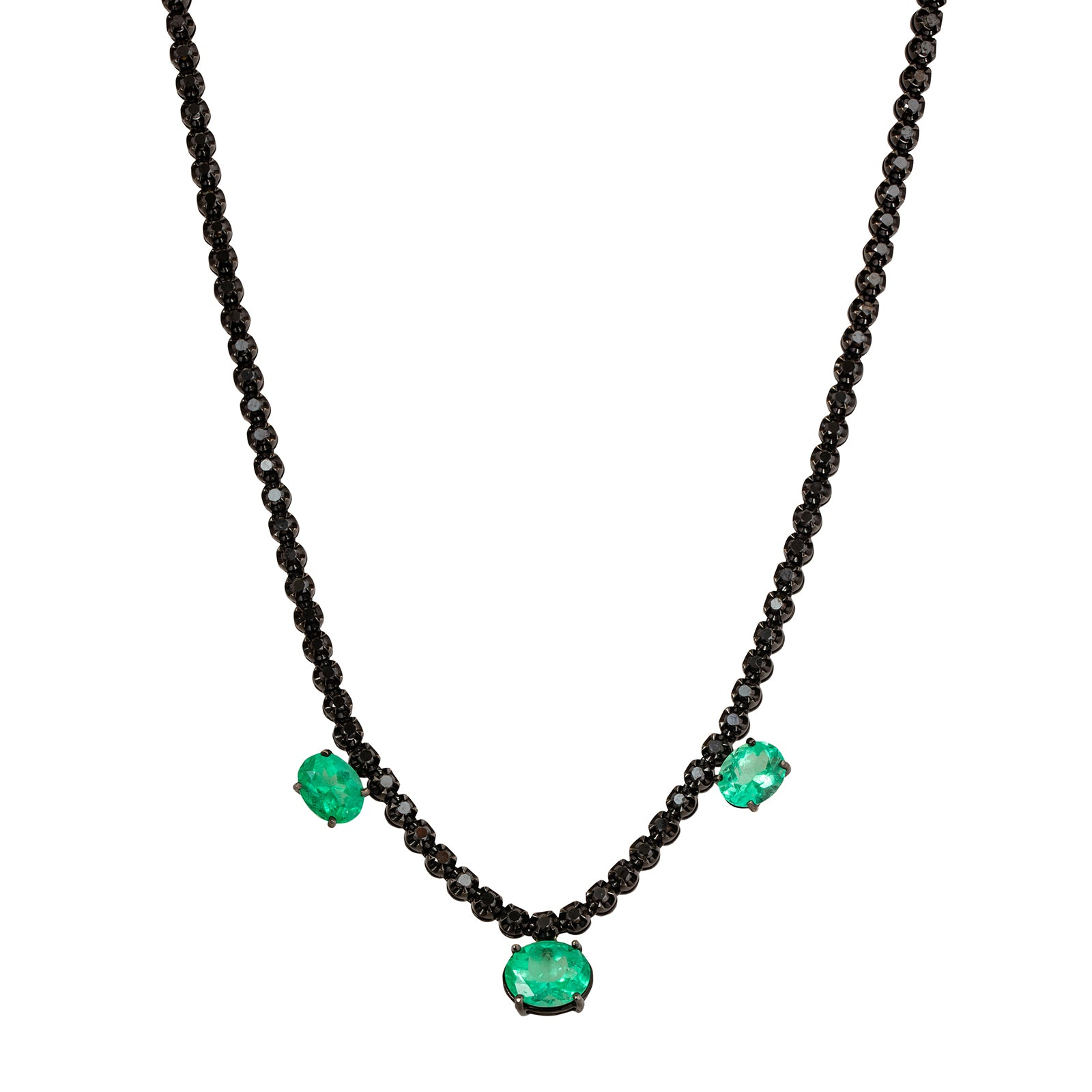 Colette Three Drop Emerald Necklace - Necklaces - Broken English Jewelry