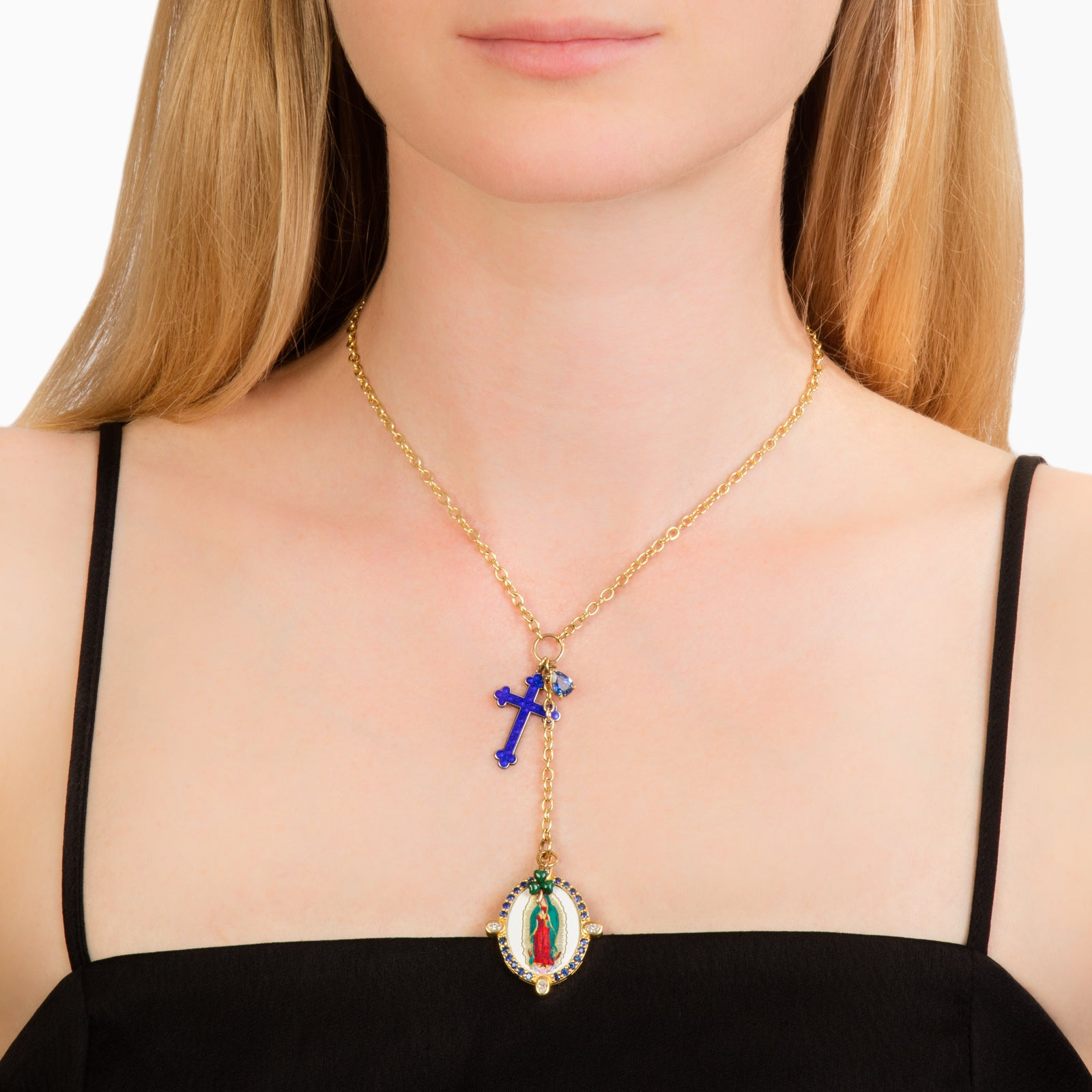Colette Medallion Necklace - Blue Cross - Necklaces - Broken English Jewelry