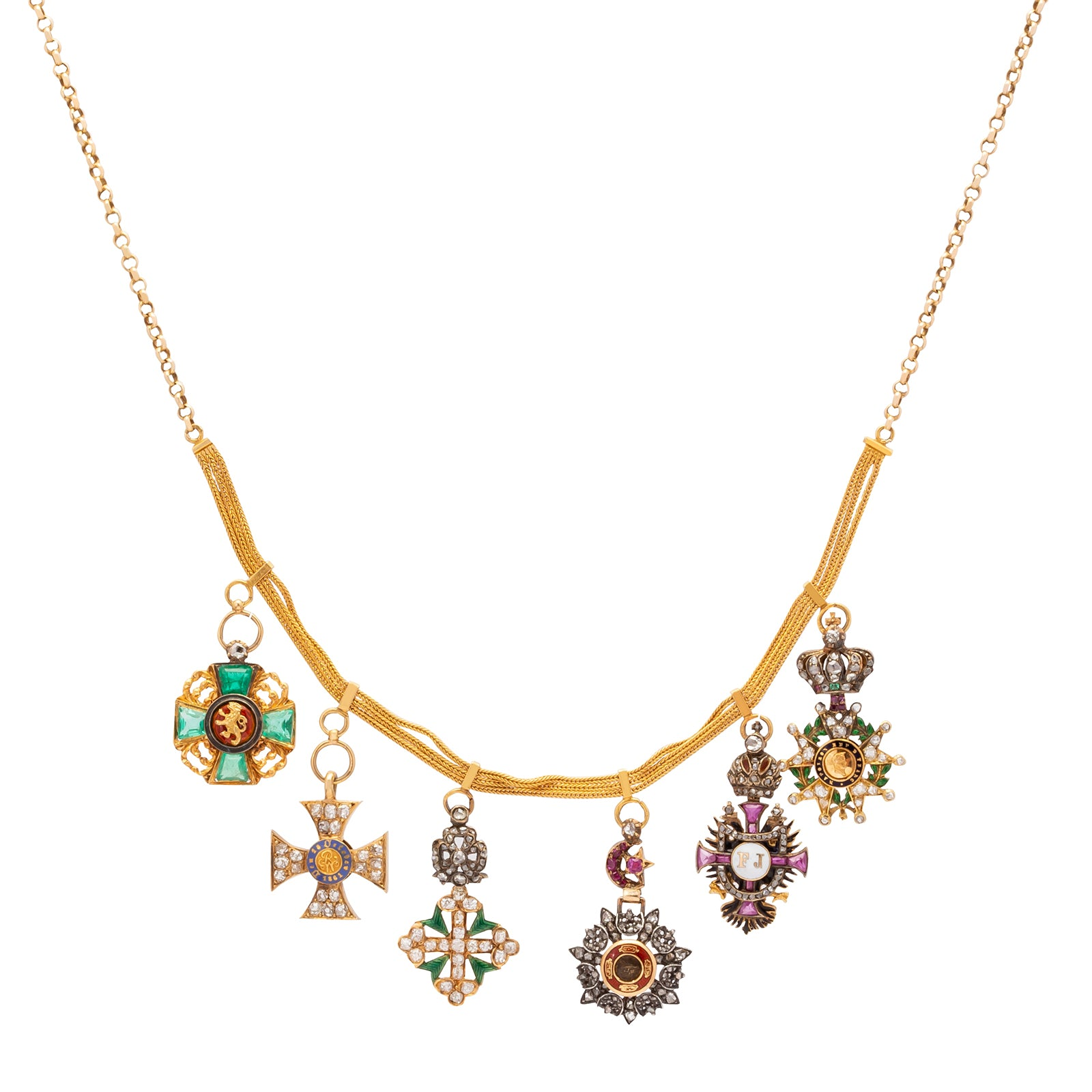 Colette Vintage Multi Mini Medals Necklace - Necklaces - Broken English Jewelry