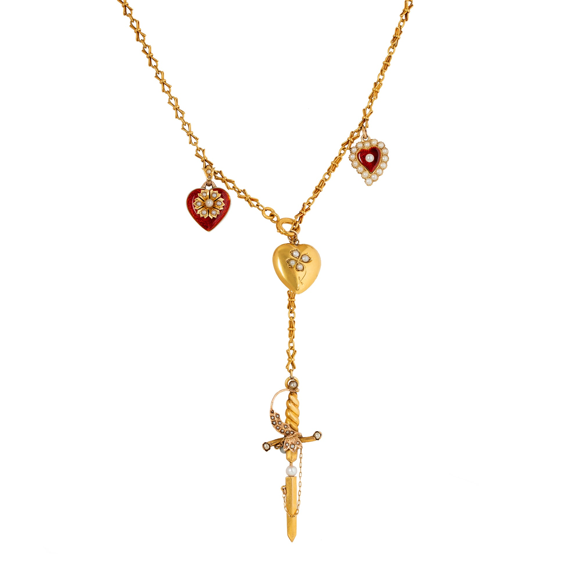 Colette Dagger & Hearts Necklace - Necklaces - Broken English Jewelry