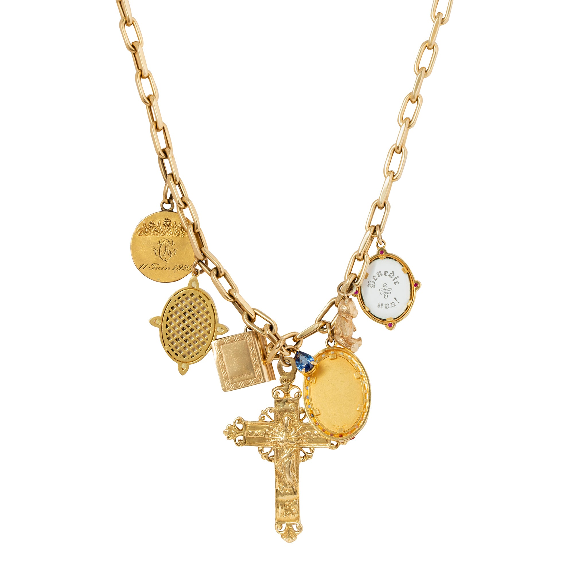 Colette Cross & Teddy Bear Medal Necklace - Necklaces - Broken English Jewelry