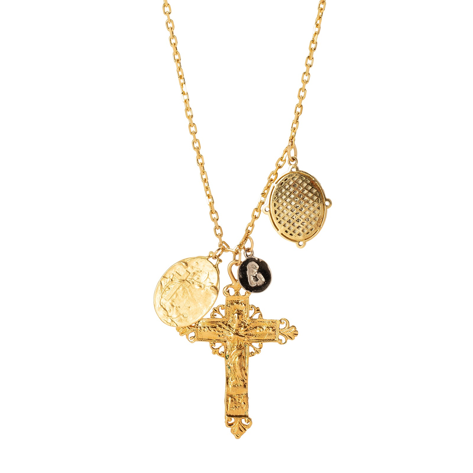 Colette Cross & Mixed Medallion Necklace - Necklaces - Broken English Jewelry