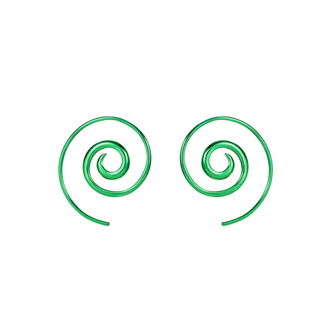 Green Navratna Spiral Earrings by Noor Fares for Broken English Jewelry