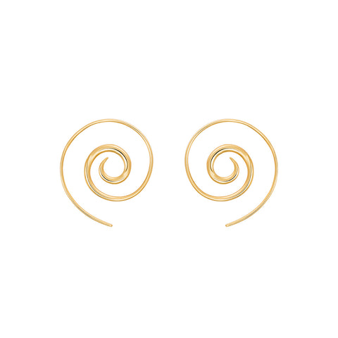 Gold Navratna Spiral Earrings by Noor Fares for Broken English Jewelry