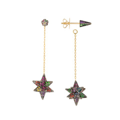Rainbow Merkaba Drop Earrings by Noor Fares for Broken English Jewelry