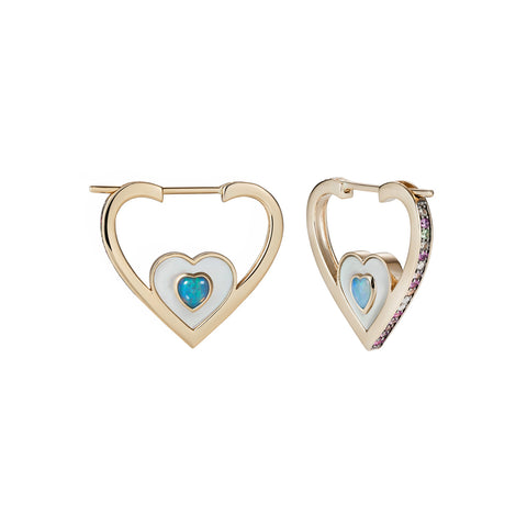 Anahata Large Heart Hoops by Noor Fares for Broken English Jewelry