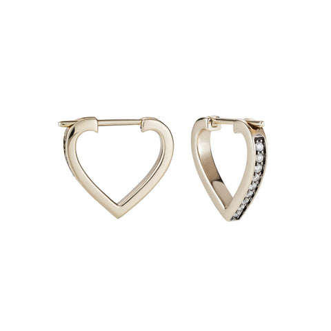 Anahata Small Heart Hoops by Noor Fares for Broken English Jewelry