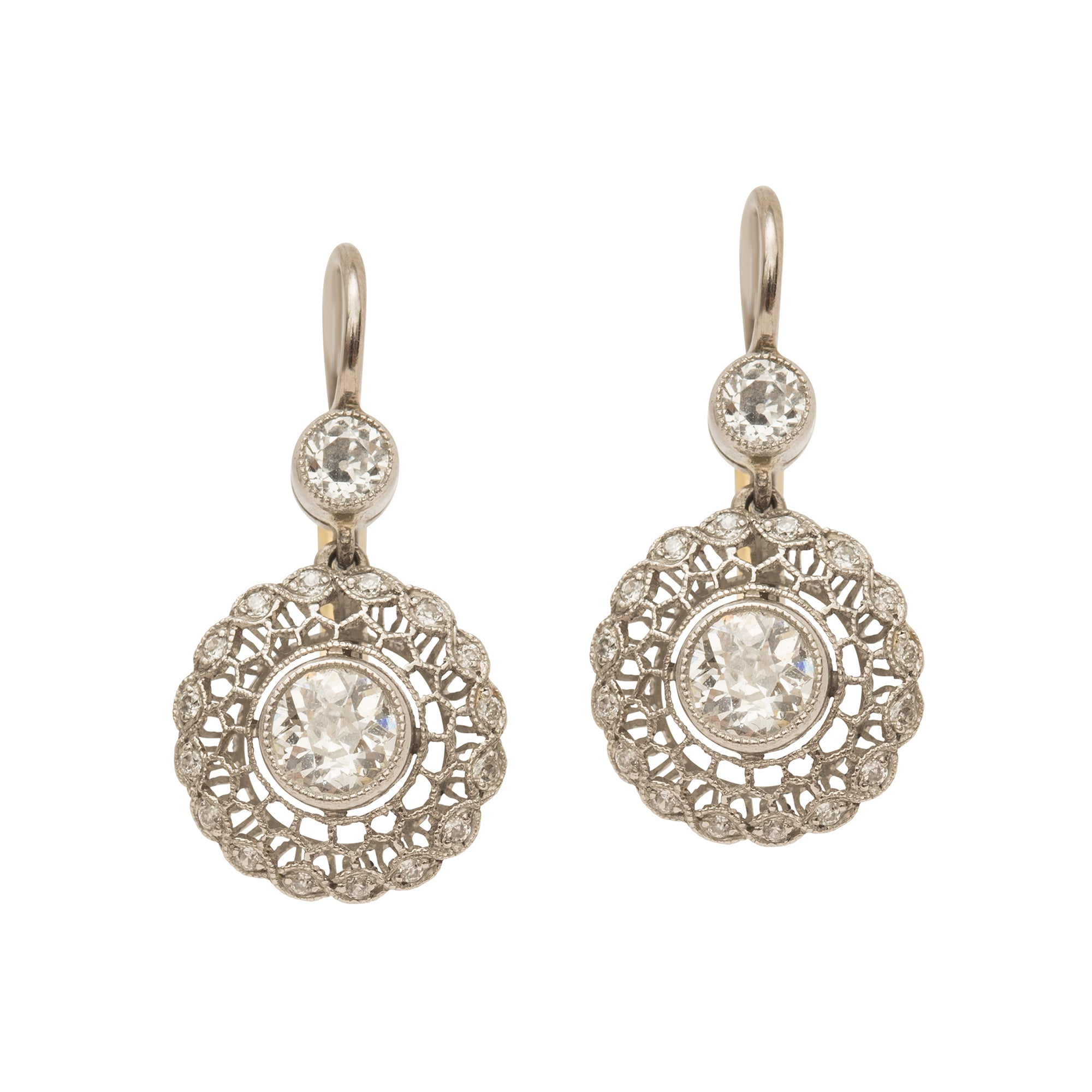 Vintage Gold & Antique Diamond Earrings for Broken English Jewelry
