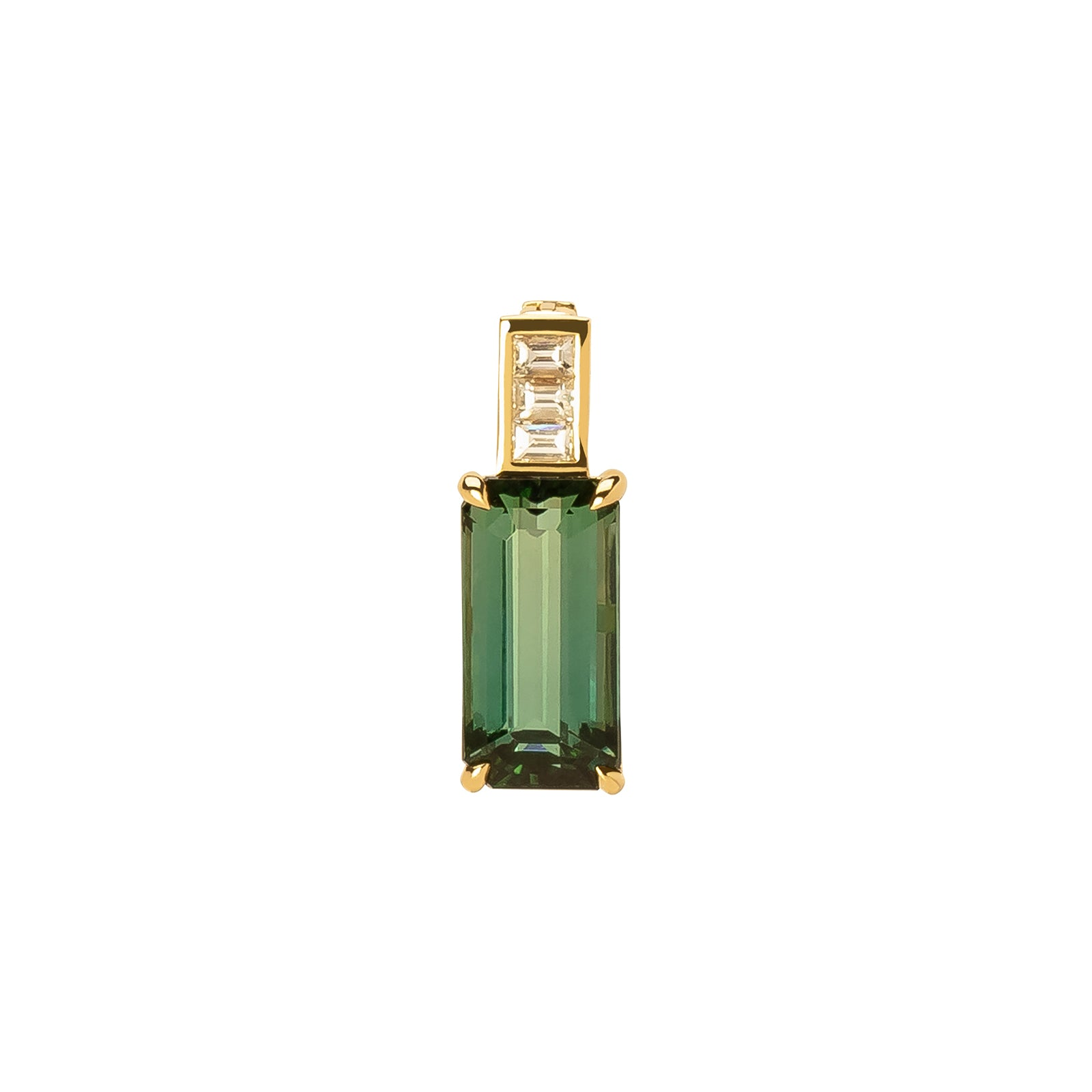 YI Collection Green Tourmaline & Diamond Pendant - Charms & Pendants - Broken English Jewelry