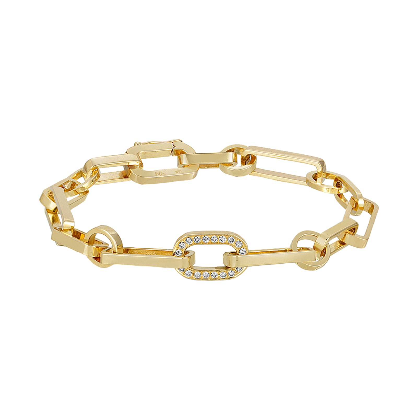 Nancy Newberg Gold Link Bracelet - One Diamond - Bracelets - Broken English Jewelry