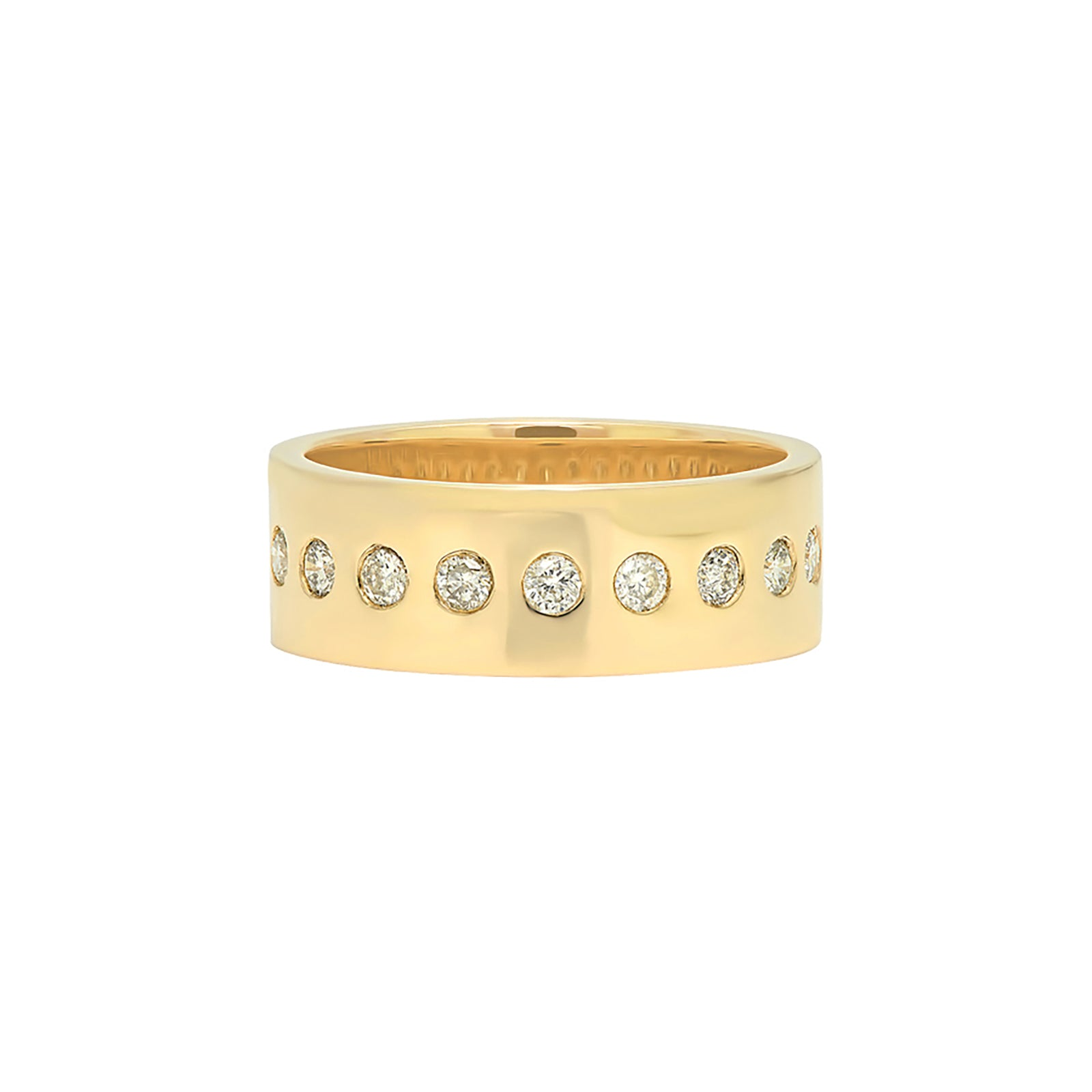 Nancy Newberg Cigar Band with Center Row Diamonds - Small - Rings - Broken English Jewelry