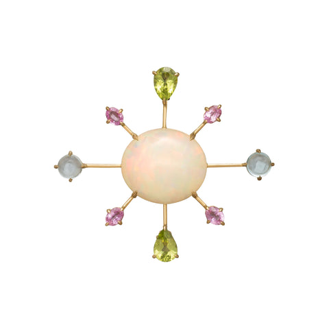 Opal, Paradot, Topaz and Sapphire Pendant Brooch - YI Collection - Charms & Pendants | Broken English Jewelry