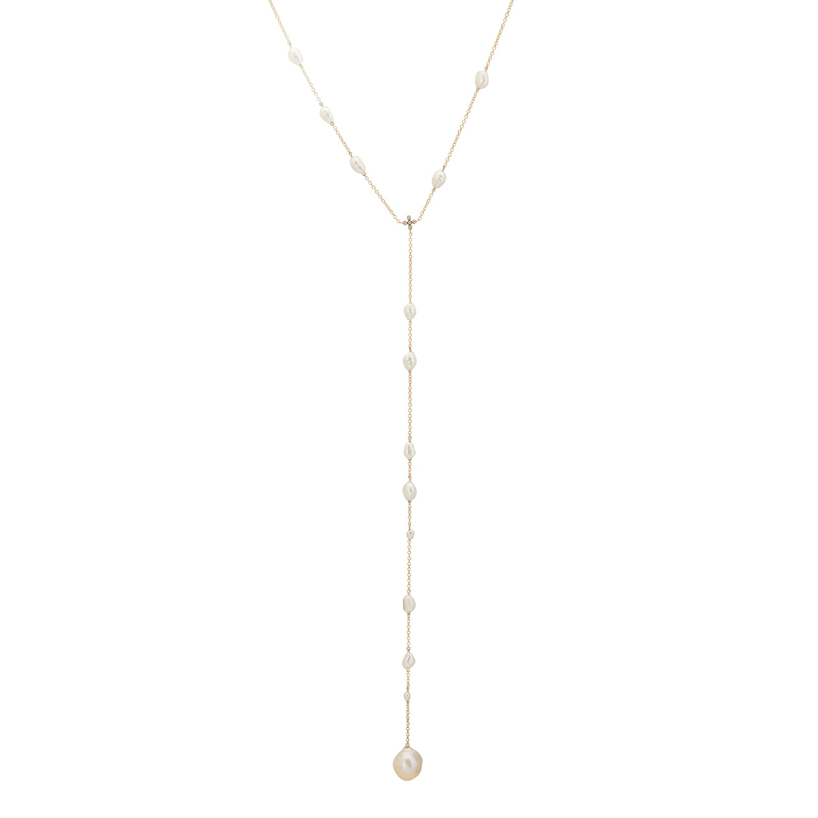 By Pariah Pearl & Diamond Lariat Necklace - Necklaces - Broken English Jewelry