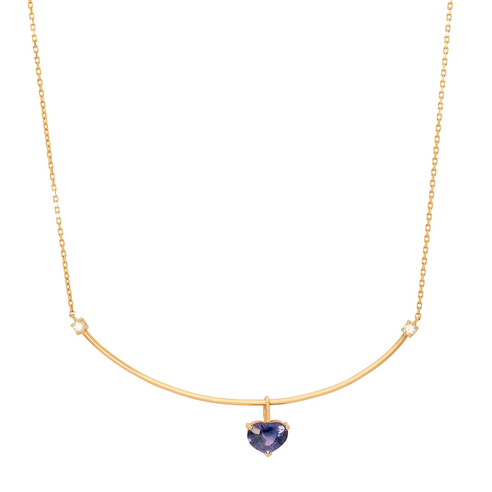YI Collection Purple Sapphire Heart Necklace - Necklaces - Broken English Jewelry