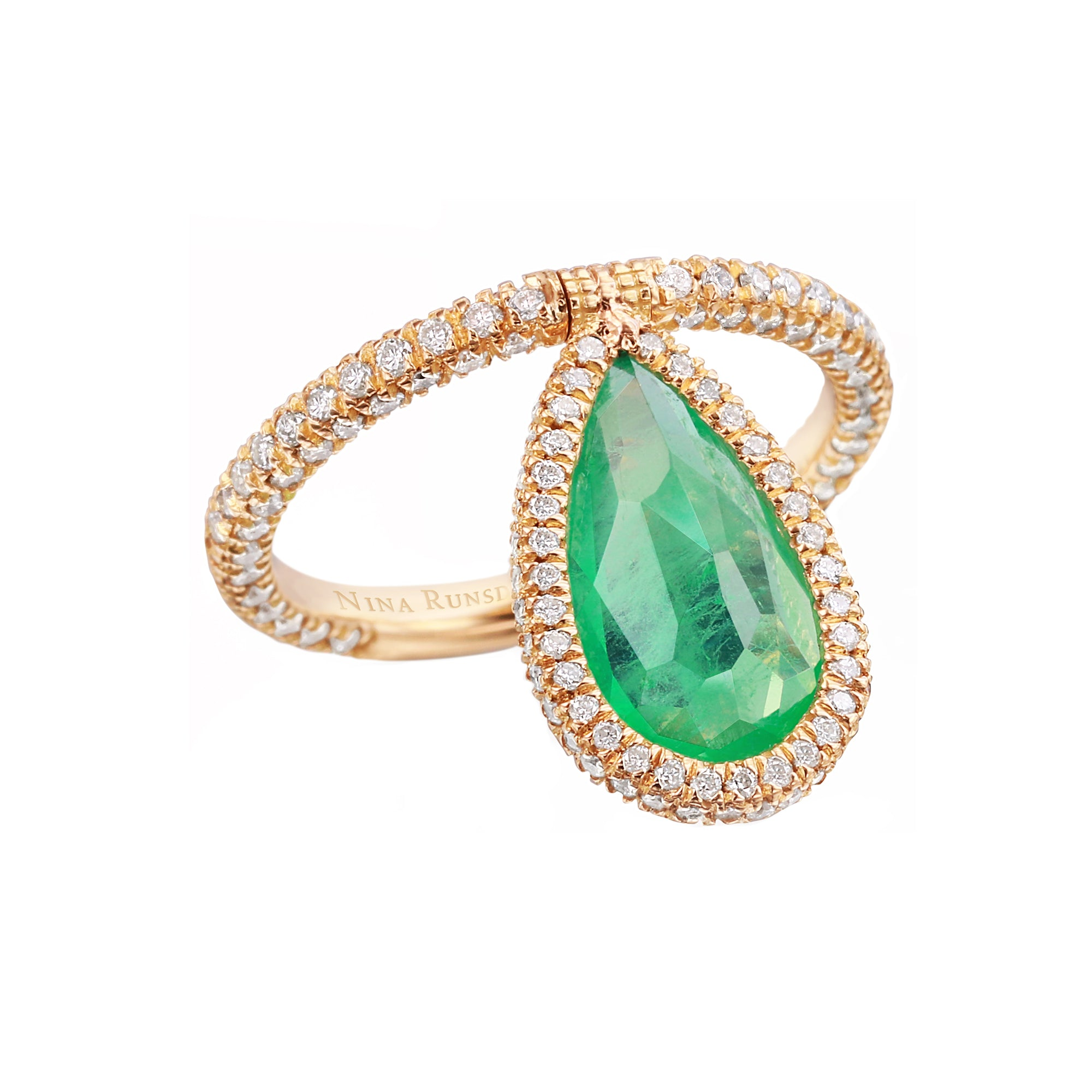 Emerald Flip Ring by Nina Runsdorf for Broken English Jewelry