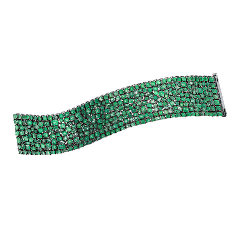 Mixed Shape Emerald Bracelet by Nina Runsdorf for Broken English Jewelry