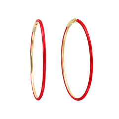 Medium Red Enamel Hoop Earrings by Nina Runsdorf for Broken English Jewelry