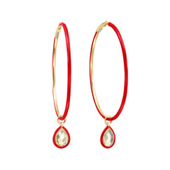 Large Red Enamel Hoop Earrings by Nina Runsdorf for Broken English Jewelry